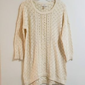 LOFT Lacy Tunic Sweater, Ecru, Sz L